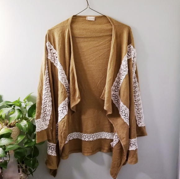 Altard State Sweaters Altard State Mustard Yellow Lace Cardigan